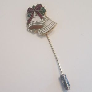 Jewelry - Gold Tone Hat Stick Pin Bells Christmas Theme Cent